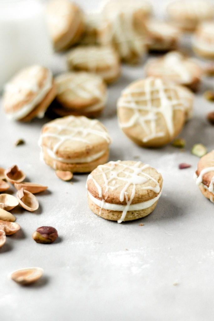 Pistachio White Chocolate Sandwich Cookies