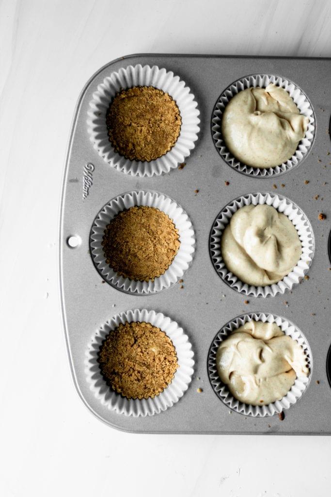 graham cracker crust & peanut butter cupcake batter