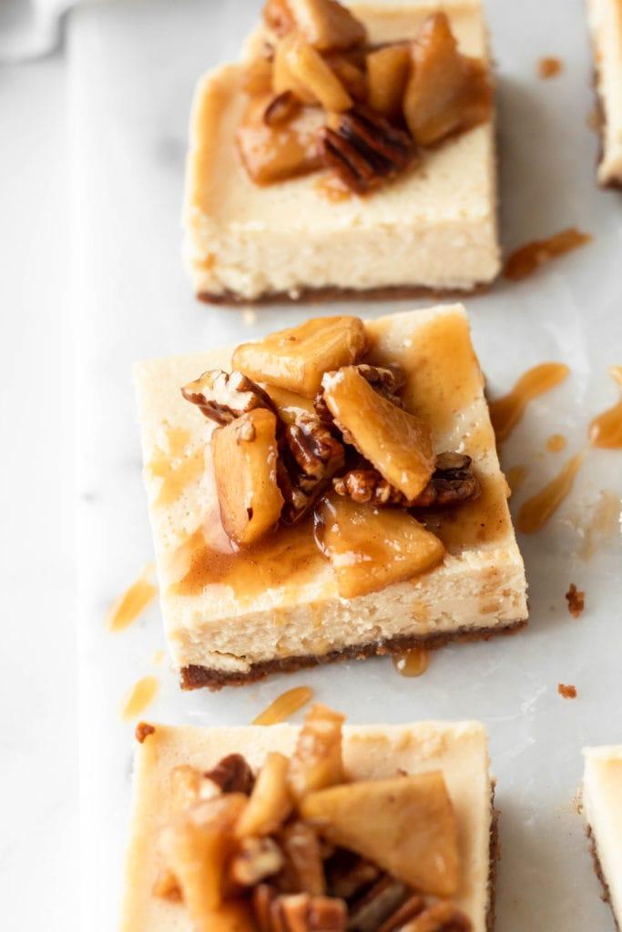 close up caramel apple cheesecake