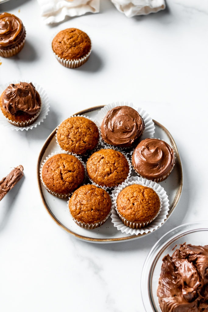 spiced pumpkin cupcakes and chocolate cream cheese frosting