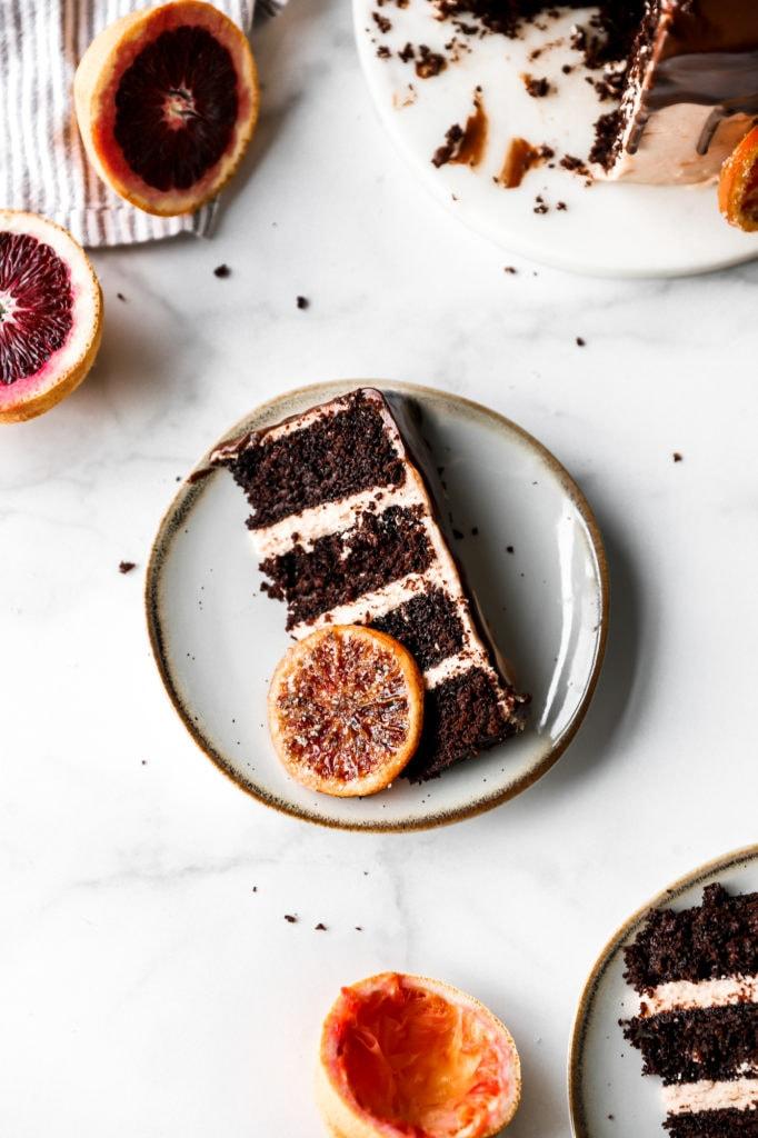 dark chocolate blood orange cake